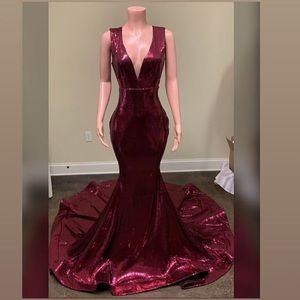 Burgundy Sequin Prom Dress